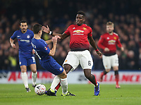 Manchester United's Paul Pogba and Chelsea's Cesar Azpilicueta<br /> <br /> Photographer Rob Newell/CameraSport<br /> <br /> Emirates FA Cup Fifth Round - Chelsea v Manchester United - Monday 18th February - Stamford Bridge - London<br />  <br /> World Copyright © 2019 CameraSport. All rights reserved. 43 Linden Ave. Countesthorpe. Leicester. England. LE8 5PG - Tel: +44 (0) 116 277 4147 - admin@camerasport.com - www.camerasport.com