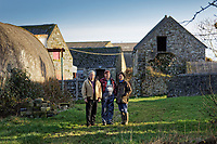 Pictured L-R: Campaigners Gareth Chapman, Gerald Miles and Jess Buchanan at Trecadwgan farm near Solva. Friday 10 January 2020<br /> Re: Farmers campaigning to save a 14th century farm called Trecadwgan and keep it for a community project in Solva, west Wales, UK.