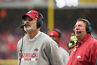 Hawgs Illustrated/BEN GOFF <br /> Paul Rhoads, Arkansas defensive coordinator, in the second quarter against Mississippi State Saturday, Nov. 18, 2017, at Reynolds Razorback Stadium in Fayetteville.