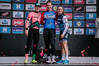 Podium celebrations by race winner Kirsten Wild (NED/WNT-Rotor), runner-up Lorena Wiebes (NED/Parkhotel Valkenburg) & 3rd finisher Letizia Paternoster (ITA/Trek-Segafredo)<br /> <br /> 8th Gent-Wevelgem In Flanders Fields 2019 <br /> Elite Womens Race (1.WWT)<br /> <br /> One day race from Ypres (Ieper) to Wevelgem (137km)<br /> ©JojoHarper for Kramon