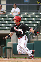 St. Johns University Red Storm outfielder Martin Kelly #7 at bat during a game against the University of Illinois Fighting Illini at BB&T Coastal Field on March 02, 2012 in Myrtle Beach, SC.  Illinois defeated St. Johns 4-0. (Robert Gurganus/Four Seam Images)