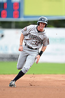 Mahoning Valley Scrappers shortstop Austin Fisher (12) runs the bases during a game against the Jamestown Jammers on June 16, 2014 at Russell Diethrick Park in Jamestown, New York.  Mahoning Valley defeated Jamestown 2-1.  (Mike Janes/Four Seam Images)