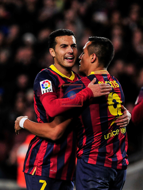 League BBVA 2013/2014 - Game: 21.<br /> FC Barcelona vs Malaga CF: 3-0.<br /> Pedro Rodriguez vs Alexis Sanchez.