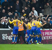 Mansfield Town's Jacob Mellis celebrates scoring his side's equalising goal with team-mates to make the score 1-1<br /> <br /> Photographer Andrew Vaughan/CameraSport<br /> <br /> The EFL Sky Bet League Two - Lincoln City v Mansfield Town - Saturday 24th November 2018 - Sincil Bank - Lincoln<br /> <br /> World Copyright &copy; 2018 CameraSport. All rights reserved. 43 Linden Ave. Countesthorpe. Leicester. England. LE8 5PG - Tel: +44 (0) 116 277 4147 - admin@camerasport.com - www.camerasport.com