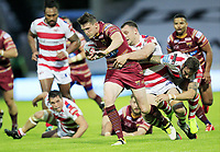 Picture by Chris Mangnall/SWpix.com - 14/07/2017 - Rugby League - Betfred Super League - Huddersfield Giants v Leigh Centurions - John Smith's Stadium, Huddersfield, England -<br /> Huddersfield's Lee Gaskiell  tackled by Leighs Sam Hopkins and Ben Cooks