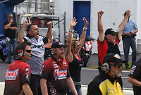 May 11, 2013; Commerce, GA, USA: NHRA crew members for pro stock driver Shane Gray during the Southern Nationals at Atlanta Dragway. Mandatory Credit: Mark J. Rebilas-
