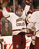 Colin White (BC - 18) - The Boston College Eagles defeated the Harvard University Crimson 3-2 in the opening round of the Beanpot on Monday, February 1, 2016, at TD Garden in Boston, Massachusetts.