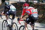 Race leader Chris Froome (GBR) Team Sky chases back on with team mates Mikel Nieve (ESP) and Wout Poels (NED) after suffering his second crash on the descent off Puerto del Torcal during Stage 12 of the 2017 La Vuelta, running 160.1km from Motril to Antequera Los D&oacute;lmenes, Spain. 31st August 2017.<br /> Picture: Unipublic/&copy;photogomezsport | Cyclefile<br /> <br /> <br /> All photos usage must carry mandatory copyright credit (&copy; Cyclefile | Unipublic/&copy;photogomezsport)