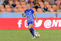 Houston, TX - Wednesday June 28, 2017: Megan Oyster passes the ball during a regular season National Women's Soccer League (NWSL) match between the Houston Dash and the Boston Breakers at BBVA Compass Stadium.