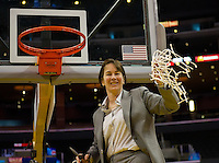 LOS ANGELES, CA - March 10, 2012: Head Coach Tara VanDerveer of the University woman's basketball team competes against Cal during the PAC 12 Woman's Basketball Championship Game at the Staples Center in Los Angeles California. Final score Stanford won 77-62.