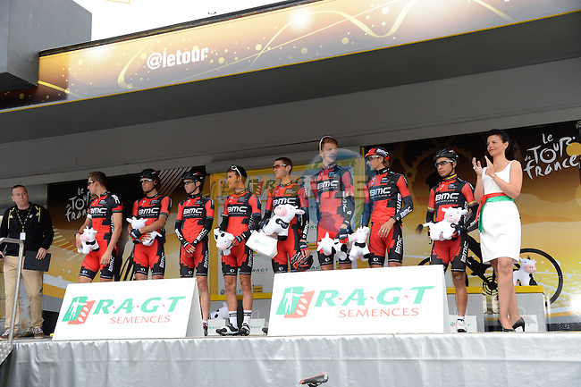 BMC Racing Team lead the team classification, pictured at sign on before the start of Stage 7 of the 2014 Tour de France running 234.5km from Epernay to Nancy. 11th July 2014.<br /> Photo ASO/G.Demouveaux/www.newsfile.ie