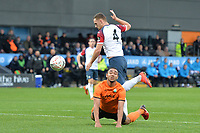 Byron Harrison Of Barnet goes down in the box looking for a penalty  during Barnet vs Stockport County, Emirates FA Cup Football at the Hive Stadium on 2nd December 2018