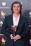 Enrique Villuendas receives the Best Poster Award during Feroz Awards 2018 at Magarinos Complex in Madrid, Spain. January 22, 2018. (ALTERPHOTOS/Borja B.Hojas)