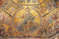 The Medieval mosaics of the ceiling of The Baptistry of Florence Duomo ( Battistero di San Giovanni ) showing Christ and the Last Judgement started in 1225 by Venetian craftsmen in a Byzantine style and completed in the 14th century. Florence Italy