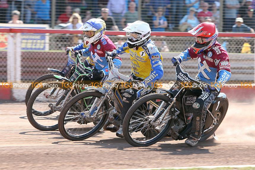 Heat 13: Richardson (red), Kylmakorpi (yellow), Pedersen (white) and Ljung - Lakeside Hammers vs Eastbourne Eagles - Elite League Speedway at Arena Essex Raceway - 22/04/11 - MANDATORY CREDIT: Gavin Ellis/TGSPHOTO - Self billing applies where appropriate - Tel: 0845 094 6026