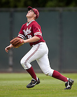 STANFORD, CA - April 23, 2011: Brian Guymon of Stanford baseball tracks down a flyball during Stanford's game against UCLA at Sunken Diamond. Stanford won 5-4.