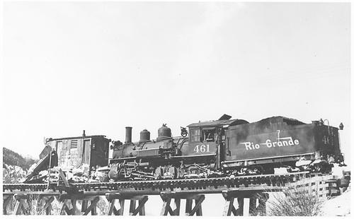 RGS K-27 #461 with plow-flanger #02 on Bridge 45-A.<br /> RGS  Ophir, CO  Taken by Reid, Homer - ca. 1946