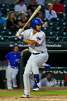 Iowa Cubs first baseman Chesny Young (9) during game two of a Pacific Coast League doubleheader against the Colorado Springs Sky Sox on August 17, 2017 at Principal Park in Des Moines, Iowa. Iowa defeated Colorado Springs 6-0. (Brad Krause/Krause Sports Photography)