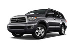 Stock pictures of low aggressive front three quarter view of a 2015 Toyota Sequoia SR5 5 Door SUV