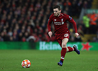 Liverpool's Andrew Robertson<br /> <br /> Photographer Rich Linley/CameraSport<br /> <br /> UEFA Champions League Round of 16 First Leg - Liverpool and Bayern Munich - Tuesday 19th February 2019 - Anfield - Liverpool<br />  <br /> World Copyright © 2018 CameraSport. All rights reserved. 43 Linden Ave. Countesthorpe. Leicester. England. LE8 5PG - Tel: +44 (0) 116 277 4147 - admin@camerasport.com - www.camerasport.com