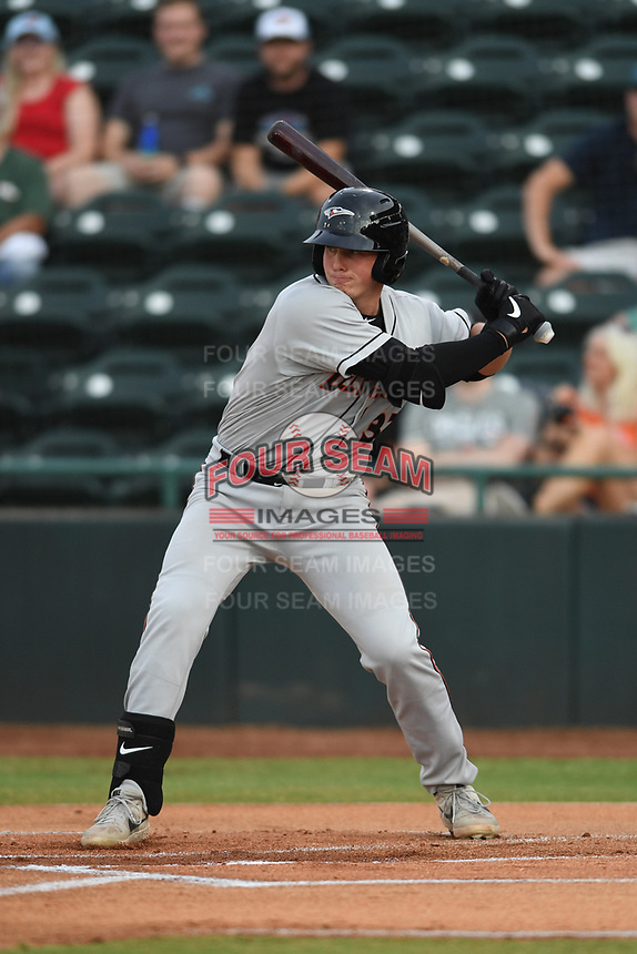 Adley Rutschman (37) of the Delmarva Shorebirds at bat during game one of the Northern Division, South Atlantic League Playoffs against the Hickory Crawdads at L.P. Frans Stadium on September 4, 2019 in Hickory, North Carolina. The Crawdads defeated the Shorebirds 4-3 to take a 1-0 lead in the series. (Tracy Proffitt/Four Seam Images)
