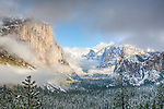 Yosemite Valley in a clearing storm, Yosemite National Park, CA