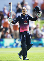 Joe Root celebrates his century.<br /> New Zealand Black Caps v England, ODI series, University Oval in Dunedin, New Zealand. Wednesday 7 March 2018. &copy; Copyright Photo: Andrew Cornaga / www.Photosport.nz
