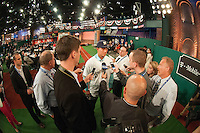 Pitcher Kodi Medeiros (Waiakea  H.S. (HI)) the number 12 overall pick to the Milwaukee Brewers during the MLB Draft on Thursday June 05,2014 at Studio 42 in Secaucus, NJ.   (AP Photo/Tomasso DeRosa)
