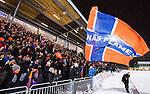 Stockholm 2016-02-12 Bandy Elitserien Hammarby IF - Bolln&auml;s GIF :  Bolln&auml;s supportrar med en flagga efter bandymatchen i Elitserien mellan Hammarby och Bolln&auml;s den 12 Februari 2016 i Stockholm. <br /> (Foto: Kenta J&ouml;nsson) Nyckelord:  Elitserien Bandy Hammarby Bolln&auml;s