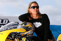 Sept. 1, 2013; Clermont, IN, USA: NHRA pro stock motorcycle rider Karen Stoffer during qualifying for the US Nationals at Lucas Oil Raceway. Mandatory Credit: Mark J. Rebilas-