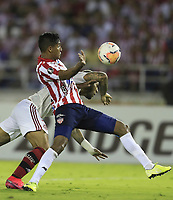 BARRANQUILLA, COLOMBIA - MARCH 04: Flamengo Gabriel Barbosa fights for the ball against Gabriel Fuentes  during the group A match of Copa CONMEBOL Libertadores between Junior and Flamengo at Estadio Metropolitano on March 4, 2020 in Barranquilla, Colombia. (Photo by Daniel Munoz/VIEW press via Getty Images)