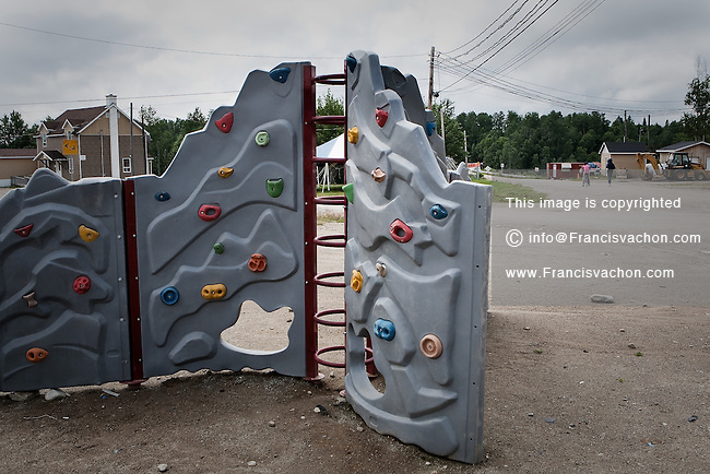 A climbing wall i seen near the primary school of the algonquin Anicinape community of Kitcisakik in Quebec, Canada, July 18, 2009. The aboriginals living in Kitcisakik, a small algonquin Anicinape community, must send their child to the distant city of Val D'Or at age 9 where they are boarded during weekdays.