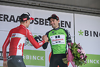GC winner Tom Dumoulin (NED/Sunweb) and 2nd place finisher Tim Wellens (BEL/Lotto Soudal) friendly podium handshake. <br /> <br /> Binckbank Tour 2017 (UCI World Tour)<br /> Stage 7: Essen (BE) > Geraardsbergen (BE) 191km
