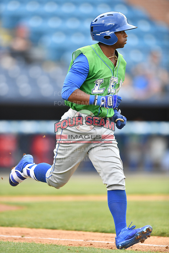 Lexington Legends left fielder Rudy Martin (25) runs to first during a game against the Asheville Tourists at McCormick Field on May 29, 2017 in , North Carolina. The Legends defeated the Tourists 6-2. (Tony Farlow/Four Seam Images)