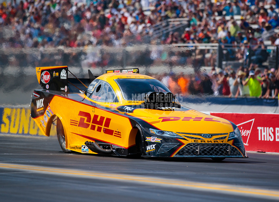 Mar 15, 2019; Gainesville, FL, USA; NHRA funny car driver J.R. Todd during qualifying for the Gatornationals at Gainesville Raceway. Mandatory Credit: Mark J. Rebilas-USA TODAY Sports