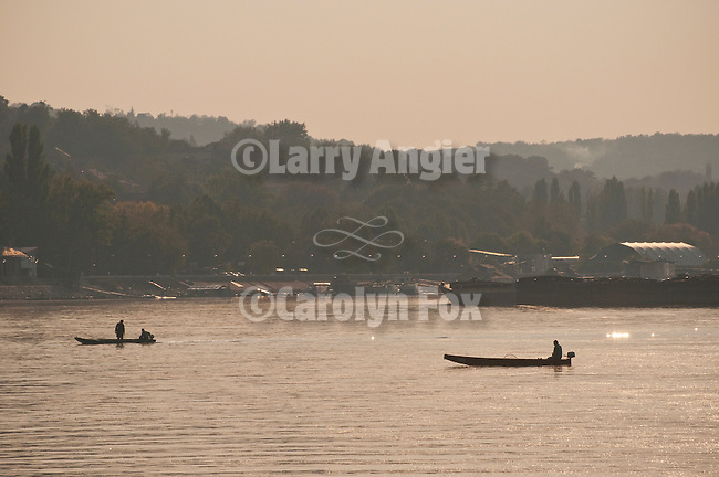 Boats and fishermen on the Reka Dunav (Danube River), Smederevo, Serbia.