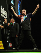 21.05.2015. London, England. Betway Premier League Darts Play-Offs.   Raymond van Barneveld [NED] celebrates a big finish against Michael van Gerwen [NED] in their semi final match.  Michael van Gerwen won the match.