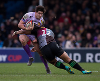 Exeter Chiefs' Tom Hendrickson is tackled by Harlequins' Paul Lasike<br /> <br /> Photographer Bob Bradford/CameraSport<br /> <br /> Premiership Rugby Cup Semi Final - Exeter Chiefs v Harlequins - Sunday 2nd February 2020 - Sandy Park - Exeter<br /> <br /> World Copyright © 2018 CameraSport. All rights reserved. 43 Linden Ave. Countesthorpe. Leicester. England. LE8 5PG - Tel: +44 (0) 116 277 4147 - admin@camerasport.com - www.camerasport.com