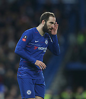 Chelsea's Gonzalo Higuain<br /> <br /> Photographer Rob Newell/CameraSport<br /> <br /> Emirates FA Cup Fifth Round - Chelsea v Manchester United - Monday 18th February - Stamford Bridge - London<br />  <br /> World Copyright © 2019 CameraSport. All rights reserved. 43 Linden Ave. Countesthorpe. Leicester. England. LE8 5PG - Tel: +44 (0) 116 277 4147 - admin@camerasport.com - www.camerasport.com