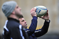 Lee Mears practises his throwing-in during the pre-match warm-up. Amlin Challenge Cup match, between Bath Rugby and Agen on January 12, 2013 at the Recreation Ground in Bath, England. Photo by: Patrick Khachfe / Onside Images