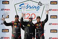 2017 IMSA Continental Tire SportsCar Challenge<br /> Visit Sebring 120<br /> Sebring International Raceway, Sebring, FL USA<br /> Friday 17 March 2017<br /> 17, Porsche, Porsche Cayman, ST, Spencer Pumpelly, Nick Galante, podium<br /> World Copyright: MIchael L. Levitt<br /> LAT Images<br /> ref: Digital Image levitt_seb_0317-15486