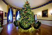 "The 2018 White House Christmas decorations, with the theme ""American Treasures"" which were personally selected by first lady Melania Trump, are previewed for the press in Washington, DC on Monday, November 26, 2018.  The Official White House Christmas tree on display in the Blue Room.  It is an eighteen foot Fraser fir.<br /> Credit: Ron Sachs / CNP"