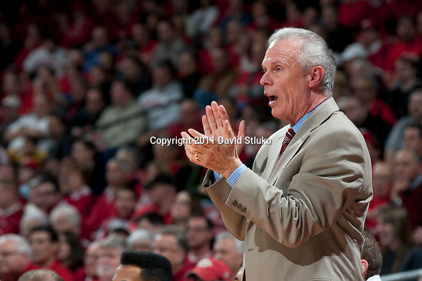 Wisconsin Badgers Head Coach Bo Ryan looks on during an NCAA college basketball game against the Savannah State Tigers on December 15, 2011 in Madison, Wisconsin. The Badgers won 66-33. (Photo by David Stluka)