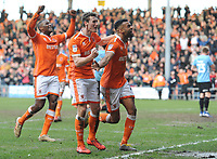 (R-L) Blackpool's Curtis Tilt, Matthew Virtue and Donervon Daniels celebrate their side's equalising goal to make the score 2-2 <br /> <br /> Photographer Kevin Barnes/CameraSport<br /> <br /> The EFL Sky Bet League One - Blackpool v Southend United - Saturday 9th March 2019 - Bloomfield Road - Blackpool<br /> <br /> World Copyright © 2019 CameraSport. All rights reserved. 43 Linden Ave. Countesthorpe. Leicester. England. LE8 5PG - Tel: +44 (0) 116 277 4147 - admin@camerasport.com - www.camerasport.com