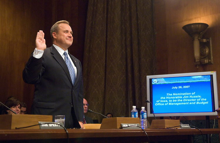 OMB Director nominee Jim Nussle is sworn in during the Senate Budget Committee confirmation hearing on Nussle's nomination on Thursday, July 26, 2007.