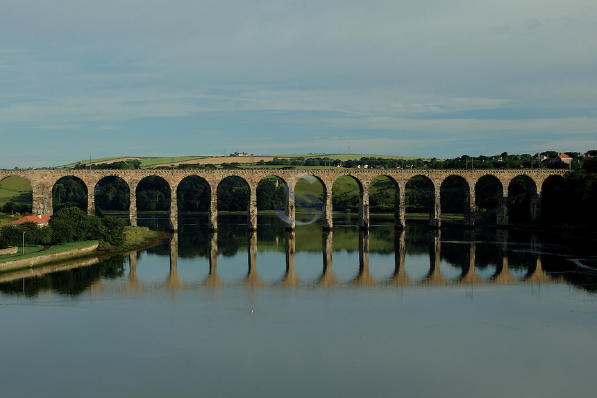 The Royal Border Bridge crossing the River Tweed at Berwick Upon Tweed, Northumberland<br /> <br /> Copyright www.scottishhorizons.co.uk/Keith Fergus 2011 All Rights Reserved
