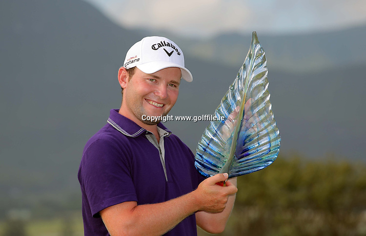 GEORGE, SOUTH AFRICA - JANUARY 22, Branden Grace celebrates his win during day 4 of the Volvo Golf Champions from the Links at Fancourt on January 22, 2012 in George, South Africa..Photo by Carl Fourie www.golffile.ie