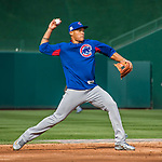 7 October 2017: Chicago Cubs shortstop Addison Russell fields practice grounders prior to a game against the Washington Nationals at Nationals Park in Washington, DC. The Nationals defeated the Cubs 6-3 and even their best of five Postseason series at one game apiece. Mandatory Credit: Ed Wolfstein Photo *** RAW (NEF) Image File Available ***