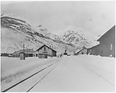 Silverton in snow with large wedge snowplow clearing yard.<br /> D&amp;RGW  Silverton, CO