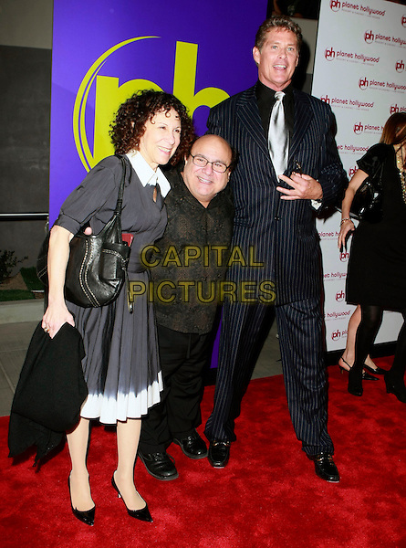 RHEA PERLMAN, DANNY DeVITO & DAVID HASSELHOFF.Planet Hollywood Resort & Casino Grand Opening - Day 2 held at the Planet Hollywood Resort & Casino, Las Vegas, Nevada, USA..November 17th, 2007 .full length black de vito glasses shirt dress married husband wife couple pinstripe suit tall short .CAP/ADM/MJT.©MJT/AdMedia/Capital Pictures.